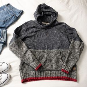 Roots Cabin Collection Knit Red and Grey Hoodie
